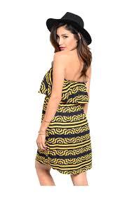 multicolored strapless dress w flounce neckline u2013 bodilove