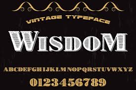 font design series vector vintage handcrafted typeface alphabet vector label design wisdom by