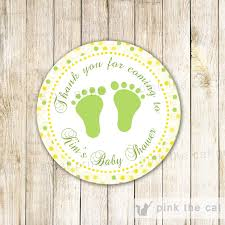 yellow green favor labels gift tag sticker unisex baby shower