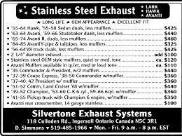 silvertone exhaust systems studebaker vendors