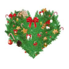 heart shaped items illustration of heart shaped christmas pine with various christmas