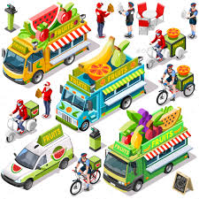 delivery fruit food truck fruit cart delivery vector isometric vehicle pack by