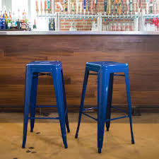 backless bar stools kitchen dining room furniture the home stackable metal bar stool in blue 2 piece