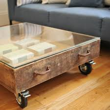 Vintage Coffee Table With Wheels Brown Rectangle Low Glass Top Vintage Coffee Tables With