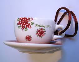 starbucks 2007 ornament miniature tea cup saucer