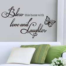 online get cheap wall sticker quotes laughter aliexpress com bless love laughter vinyl quotes butterfly wall sticker wall decal home decor 8386 remonable wallpaper bedroom