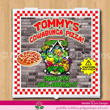personalized pizza boxes tmnt pizza box label printable personalized birthday party favor