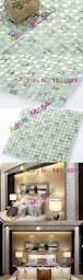 transparent white glass tiles iridescent aqua kitchen backsplash