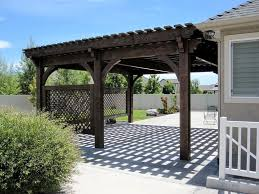 covered patio 5 post 20 u0027 x 20 u0027 diy pergola kit w lattice panels
