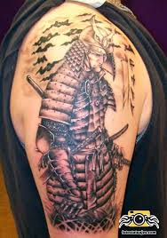 nice sword with samurai warrior japanese tattoo design on bicep