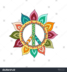 hippie vintage peace symbol zentangle style stock vector 435791056