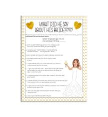 bridal shower groom questions gold what did he say about his bride bridal shower game