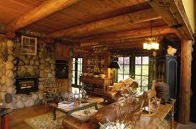 interior stunning rustic living room decoration with log cabin