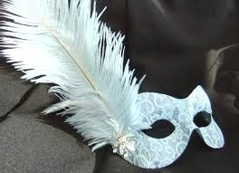feather mask baby blue burlesque style feather mask