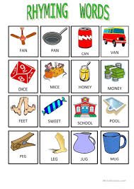 18 free esl rhyming words worksheets