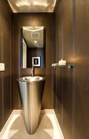 Decorating Powder Rooms Small Dark Brown Varnishes Wooden Floating Vanity Cabinet Small
