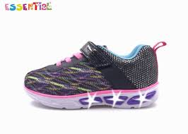 light up sole shoes 3d printed mesh kids light up sole shoes bungee lace synthetic upper