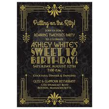 sweet 16 birthday invitation roaring 20s art deco black gold