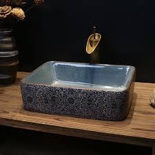 floral antique styled rectangular porcelain bathroom sink