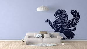 wall vinyl flying lion wall vinyl decal sticker wings greek mythology