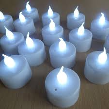 battery operated tea lights white base and white