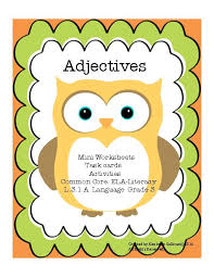adjectives task cards activities mini worksheets common core