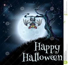 cartoon halloween background cartoon halloween bat hanging on tree branch vector stock vector