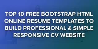 Resume Template Website 10 Free Bootstrap Html Online Resume Templates For Cv Website 2016