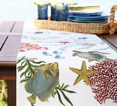 Kitchen Table Runners by Playa Sea Life Table Runner Pottery Barn