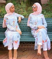 floral long or short tunic with hijab fashion for hijabie girls