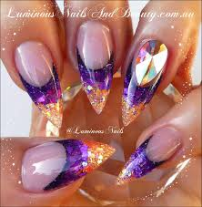 purple nail designs with rhinestones