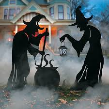 Halloween Witch Outdoor Decorations by Witch Silhouettes With Cauldron Outdoor Halloween Decoration