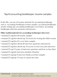 Bookkeeping Resume Template Bookkeeper Resume Sample Resume For Your Job Application