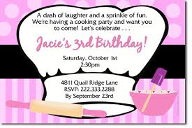 cooking party birthday invitations candy wrappers thank you