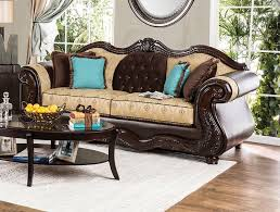 traditional sofas with wood trim furniture of america wexford wood trim traditional sofa sm6308 sf