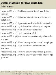Custodian Sample Resume by Top 8 Lead Custodian Resume Samples