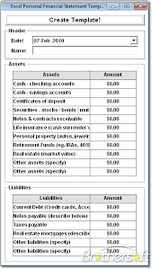 Financial Statements Templates For Excel Excel Personal Financial Statement Template Software Create
