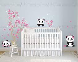 stickers panda chambre bébé pandas et arbre de fleur de cerisier sticker panda panda vinyl