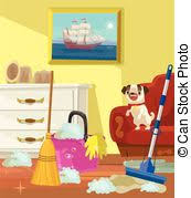 clip art vector of dog and living room illustration of a dog