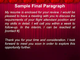 Sample Resume For Flight Attendant Position by Job Application Letter Ppt Download