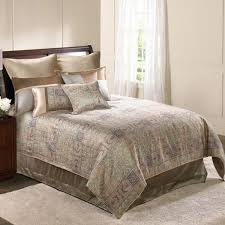 10 Pc Comforter Set Elegance Taupe Sage And Blue Comforter Set