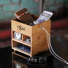 phone charger organizer personalized stacking valet phone charger in eco friendly bamboo