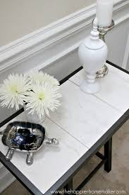 Marble Table Top Diy Marble Top Table From A Barstool The Happier Homemaker