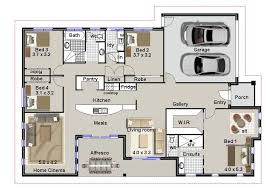 Drawing Of A House With Garage Architecture House Building Plan With 4 Bedroom And Double Garage