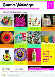 summer workshops in arts u0026 craft for children and ladies at the