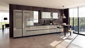 modern italian kitchen in blue and white design with black