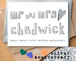 twenty fifth anniversary 25th wedding card etsy