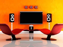 decorations awesome media room colors design with orange wall