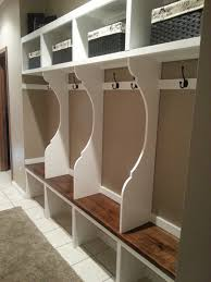 Hallway Benches by Furniture White Wooden Mudroom Storage And Shelf With Brown Seat