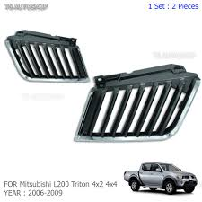 chrome blk grill grille replacement for mitsubishi l200 triton mn